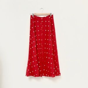 & Other Stories Red Dot Midi Skirt / S
